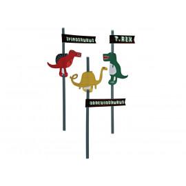 Set von 24 Dino Trinkhalmen